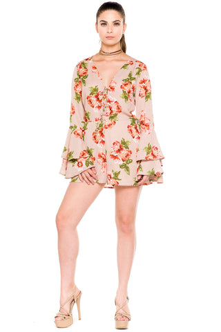 (akz) Floral print ruffle long sleeves romper