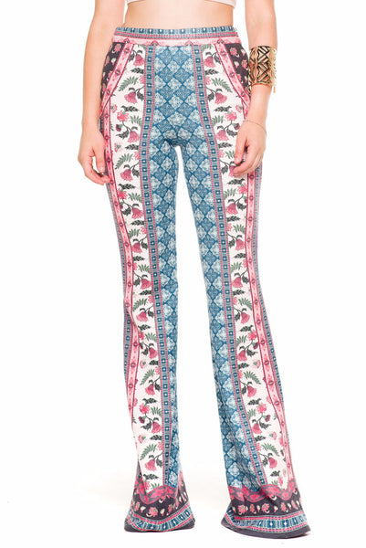 (akz) Flora and bandana print suedette pants