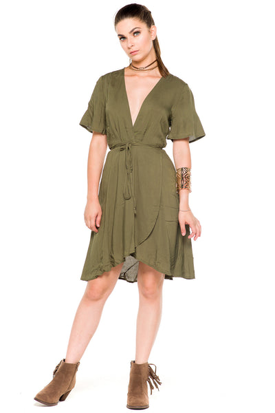 (akz) Wrap around short sleeves plunging dress -Olive- - L.A. Roxx - 3
