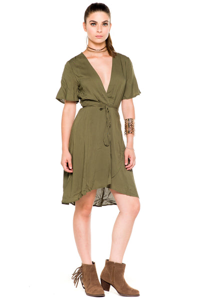 (akz) Wrap around short sleeves plunging dress -Olive- - L.A. Roxx - 2