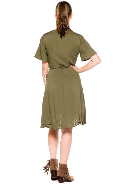 (akz) Wrap around short sleeves plunging dress -Olive- - L.A. Roxx - 4