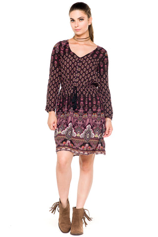 (akz) Flowers and paisley print long sleeves dress