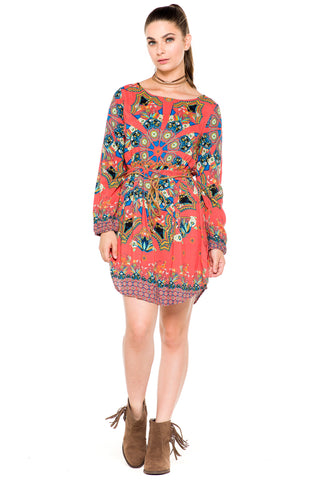 (akz) Long sleeves printed belted tunic dress