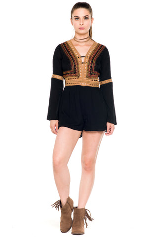 (akz) Crochet ethnic embroidery bell sleeves romper -Black-