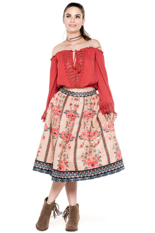 (akz) Floral print suede flare knee length skirt