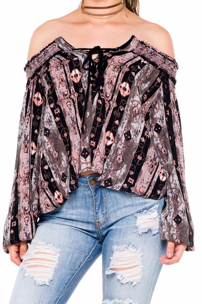 (akz) Printed laced up off the shoulder top - L.A. Roxx - 5