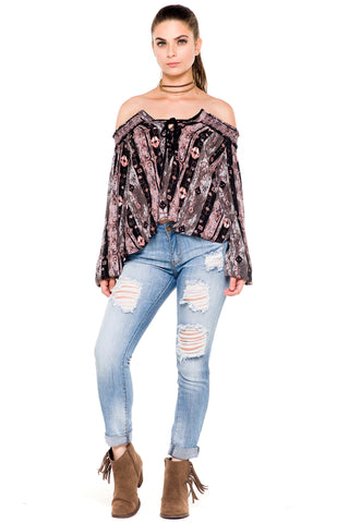(akz) Printed laced up off the shoulder top