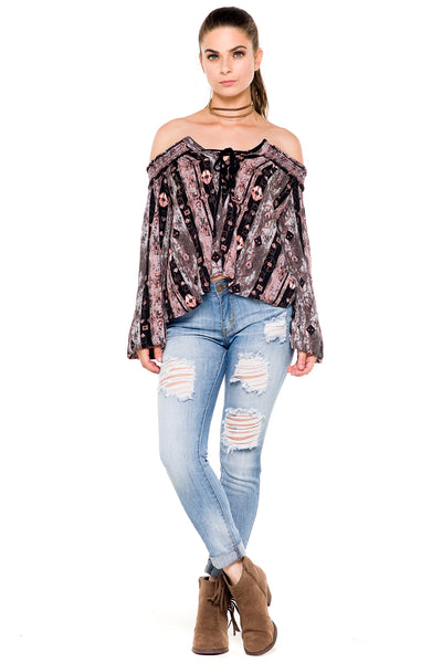 (akz) Printed laced up off the shoulder top - L.A. Roxx - 3