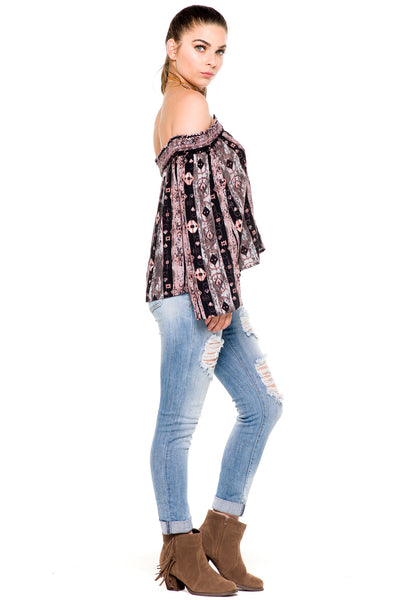 (akz) Printed laced up off the shoulder top - L.A. Roxx - 2