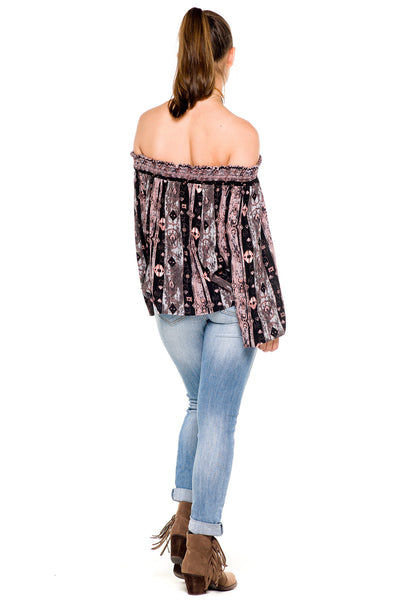 (akz) Printed laced up off the shoulder top - L.A. Roxx - 4