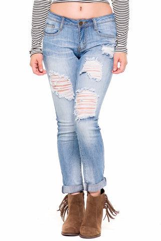 (akz) Distressed boyfriend stretch light wash denim