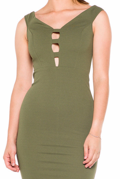 (akz) Caged plunge fitted  short dress -Olive- - L.A. Roxx - 5