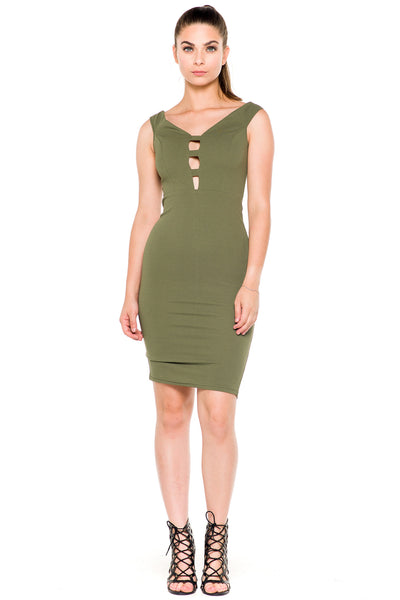 (akz) Caged plunge fitted  short dress -Olive- - L.A. Roxx - 1