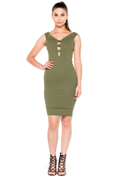 (akz) Caged plunge fitted  short dress -Olive- - L.A. Roxx - 3