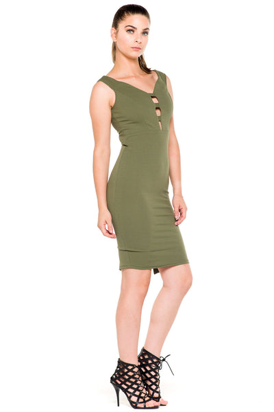 (akz) Caged plunge fitted  short dress -Olive- - L.A. Roxx - 2