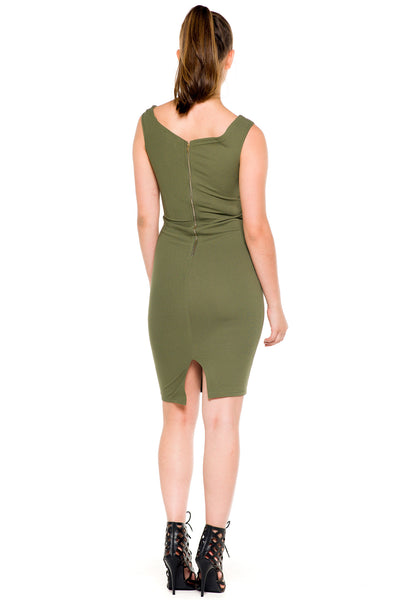 (akz) Caged plunge fitted  short dress -Olive- - L.A. Roxx - 4