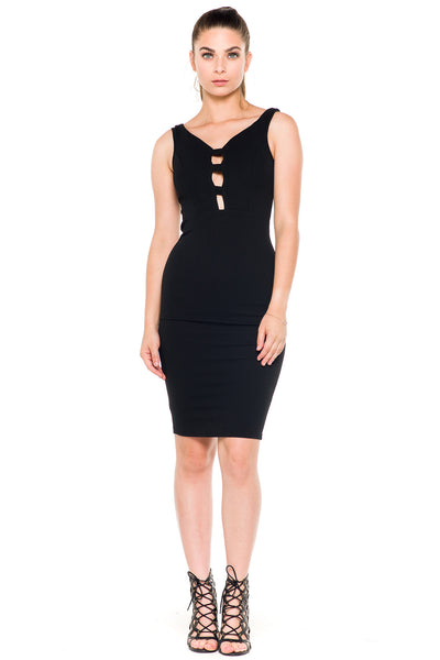 (akz) Caged plunge fitted  short dress -Black- - L.A. Roxx - 1