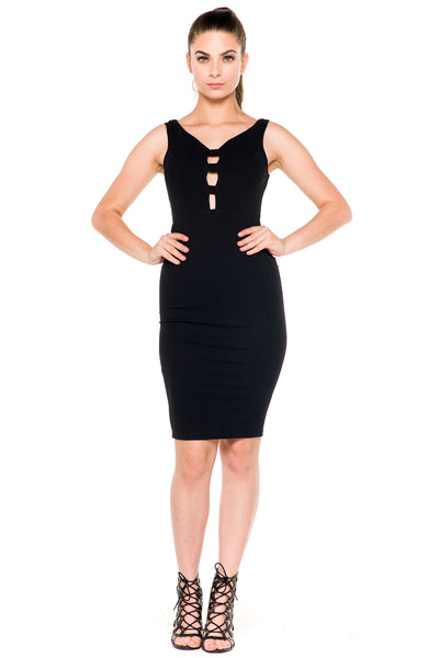 (akz) Caged plunge fitted  short dress -Black- - L.A. Roxx - 3