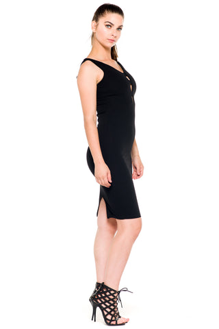 (akz) Caged plunge fitted  short dress -Black-