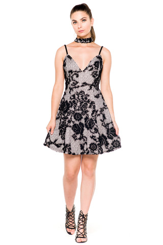 (akz) Lace nude illusion flare short dress -Black-