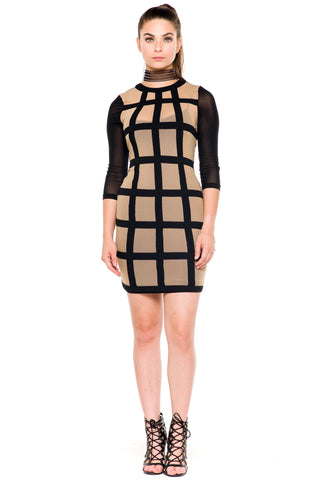 (akz) Sheer caged mesh fitted short dress -Beige-