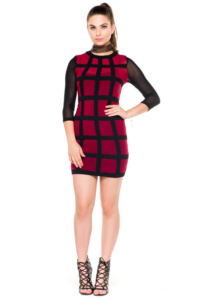 (akz) Sheer caged mesh fitted short dress -Burgundy- - L.A. Roxx - 3