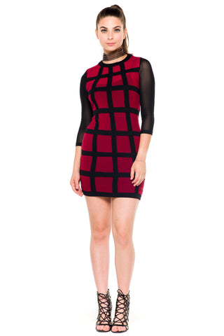 (akz) Sheer caged mesh fitted short dress -Burgundy-