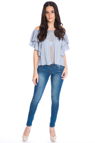 (aku) Off the shoulder ruffle top -Blue-