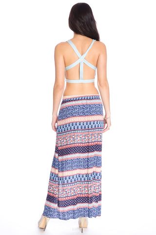 (aku) Strappy open back plunging cropped top -Blue-