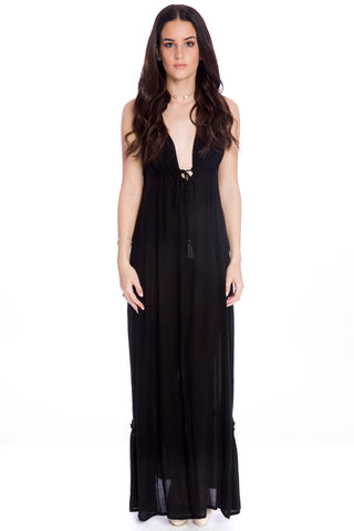 (aku) Plunging low back maxi dress -Black-