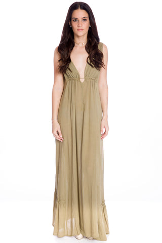(aku) Plunging low back maxi dress -Green-