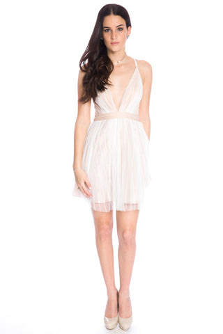 (aku) Plunging short flare dress -White-