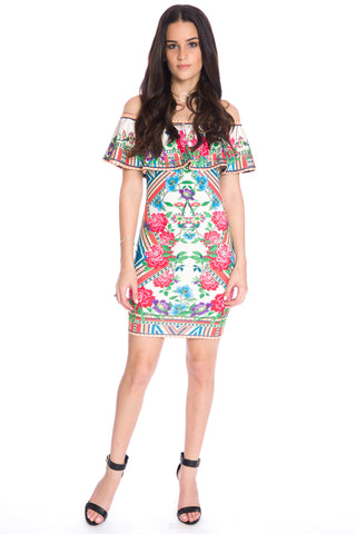 (aku) Off the shoulder floral print short dress