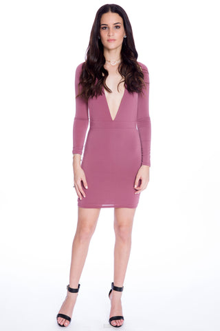 (aku) Sleeved halter mini plunging dress -Mauve-