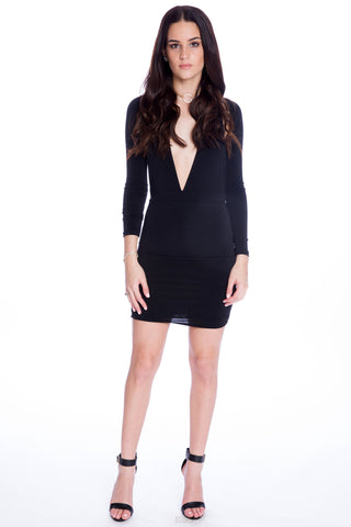 (aku) Sleeved halter mini plunging dress -Black-