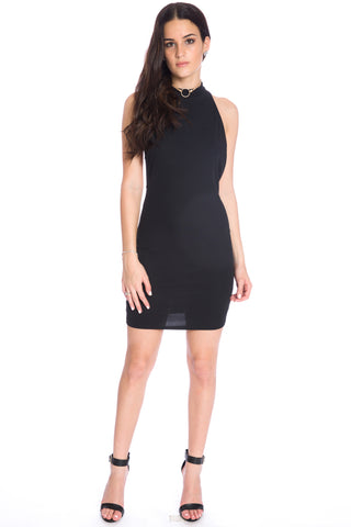 (aku) Mock neck open crossed back short dress -Black-
