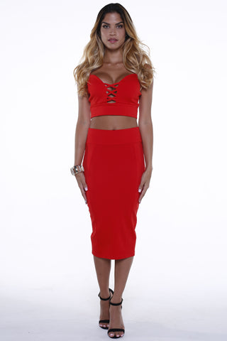 (alg) Plunging cage red skirt set
