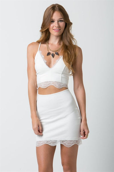 (ana) Fitted lace trimmed short ivory skirt - L.A. Roxx - 2