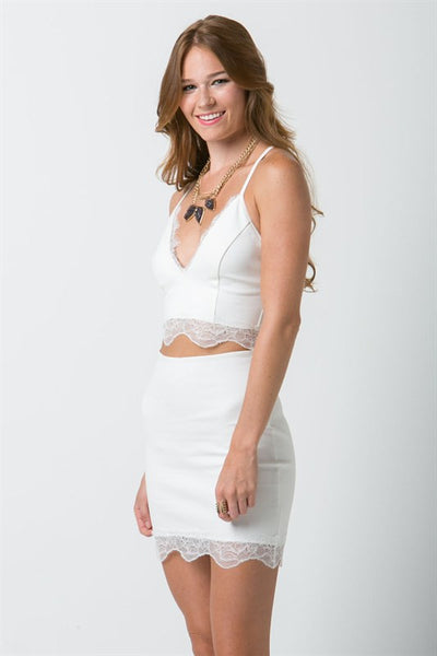 (ana) Fitted lace trimmed short ivory skirt - L.A. Roxx - 4