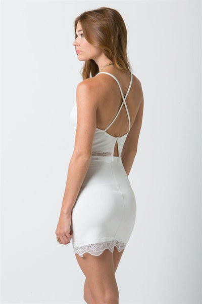 (ana) Fitted lace trimmed short ivory skirt - L.A. Roxx - 3