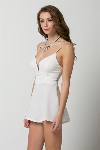(amt) Spaghetti straps plunge ivory romper