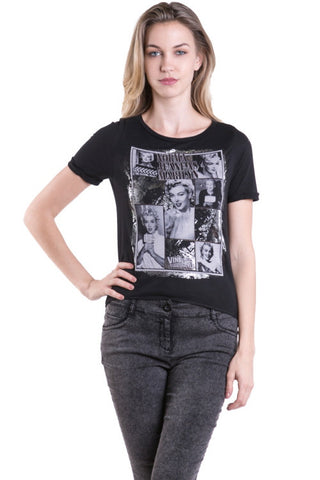 (amx) Norma Jeane as Marilyn graphic black tee