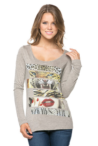 (ana) Leopard and red lips long sleeves tee