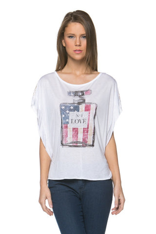 (amx) Number 1 american flag lotion bottle crop tee