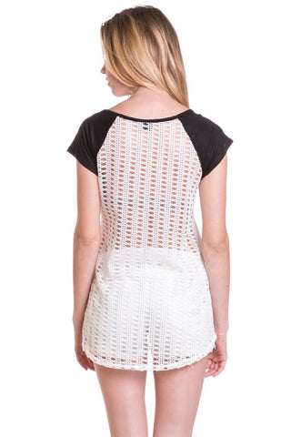 (amx) Beautiful everywhere you go crochet back tee