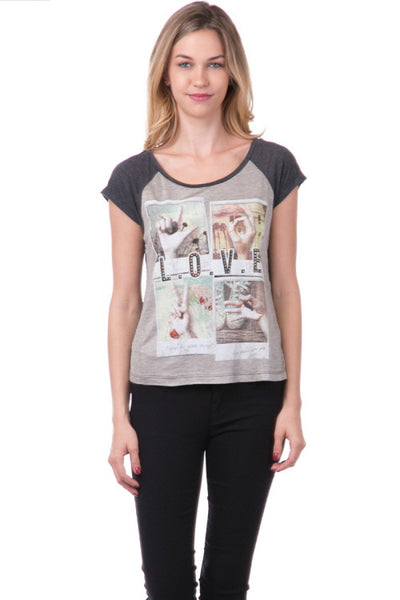 (amt) Love written with hand symbols graphic tee - L.A. Roxx - 1