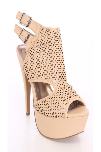 (anm) Nude Perforated Peep Toe Booties Faux Leather - L.A. Roxx - 3