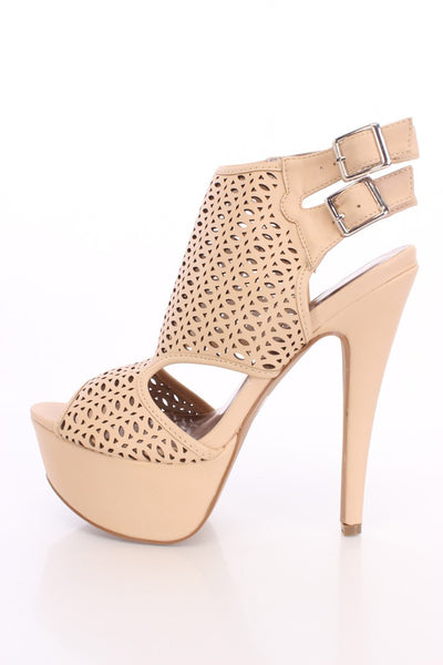 (anm) Nude Perforated Peep Toe Booties Faux Leather - L.A. Roxx - 1