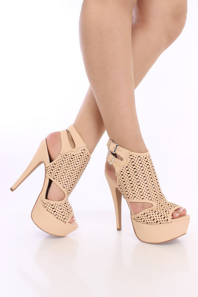 (anm) Nude Perforated Peep Toe Booties Faux Leather - L.A. Roxx - 4