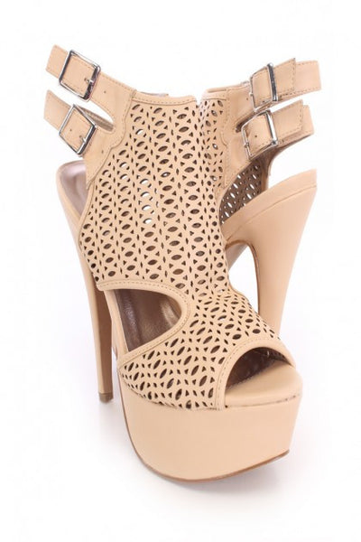 (anm) Nude Perforated Peep Toe Booties Faux Leather - L.A. Roxx - 2